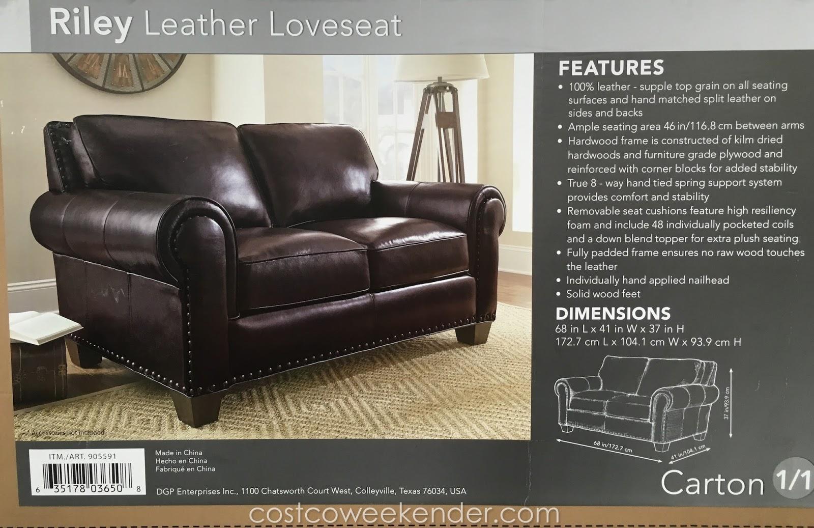 Adalyn Home Riley Leather Loveseat Costco Weekender