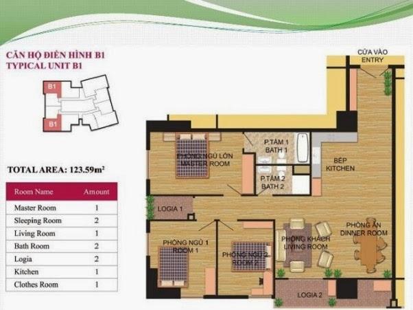 căn hộ B1 ( 123,59m2 ) chung cư Hà Đô Park View Dịch Vọng