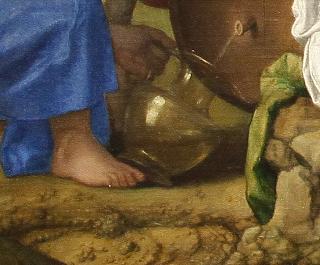 Dei di Bellini: Bacco spilla vino bianco in una brocca di vetro da una botte.