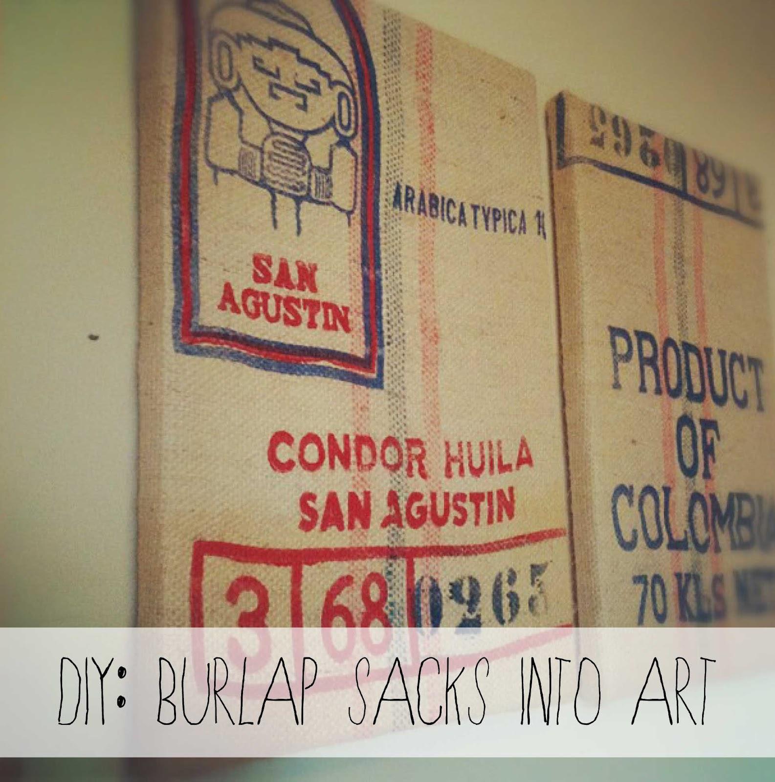 Diy Wall Art Burlap : Swallow s heart diy burlap sacks into art