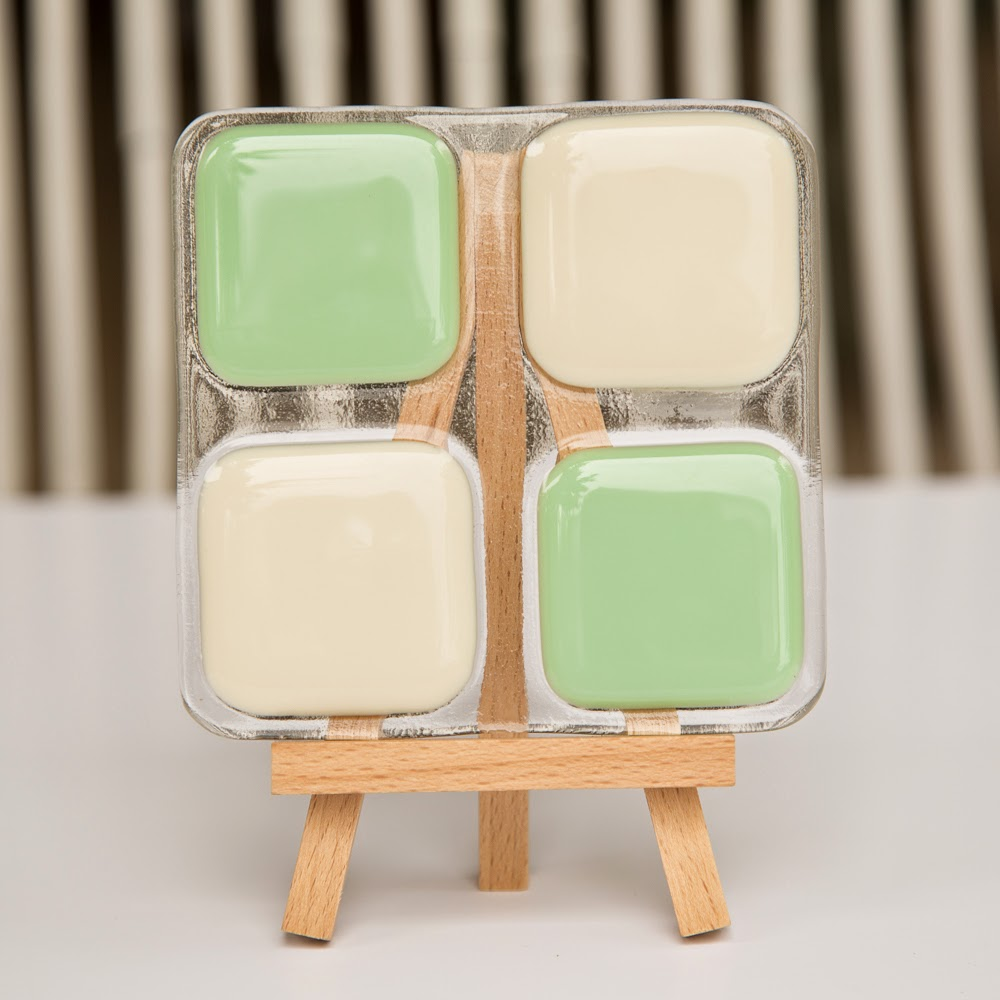 sassy glass studio, fused glass, coasters, mint green, ivory, vintage, kitchen, Etsy, Knoxville