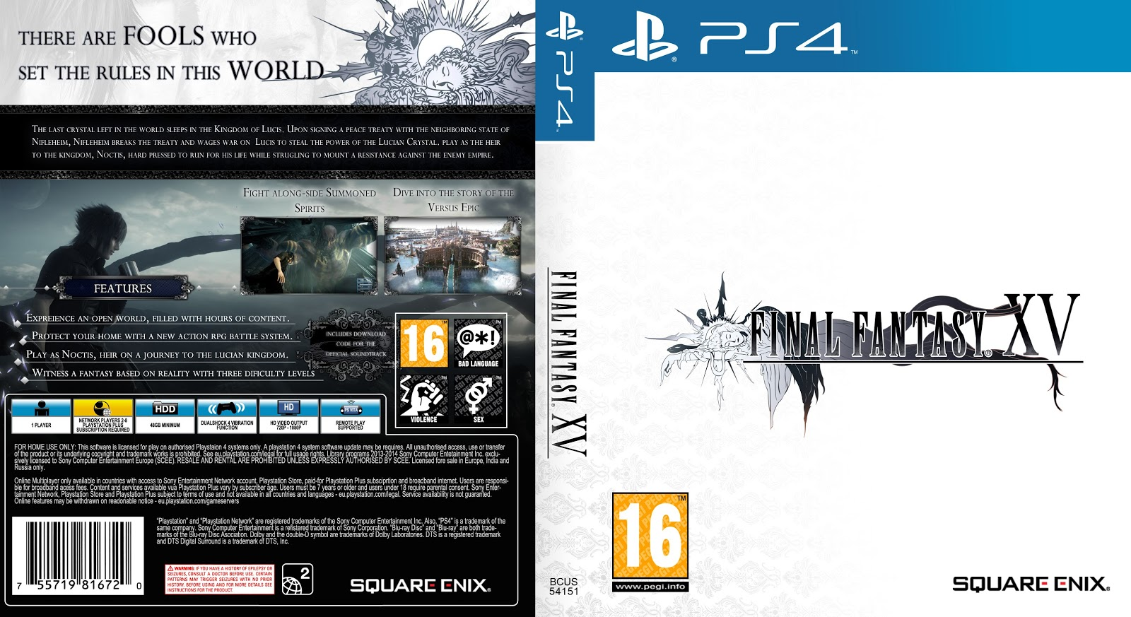 Capa Final Fantasy XV PS4