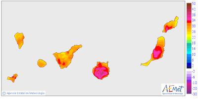 Gran canaria, valleseco temperaturas más altas de España 39,3 grados