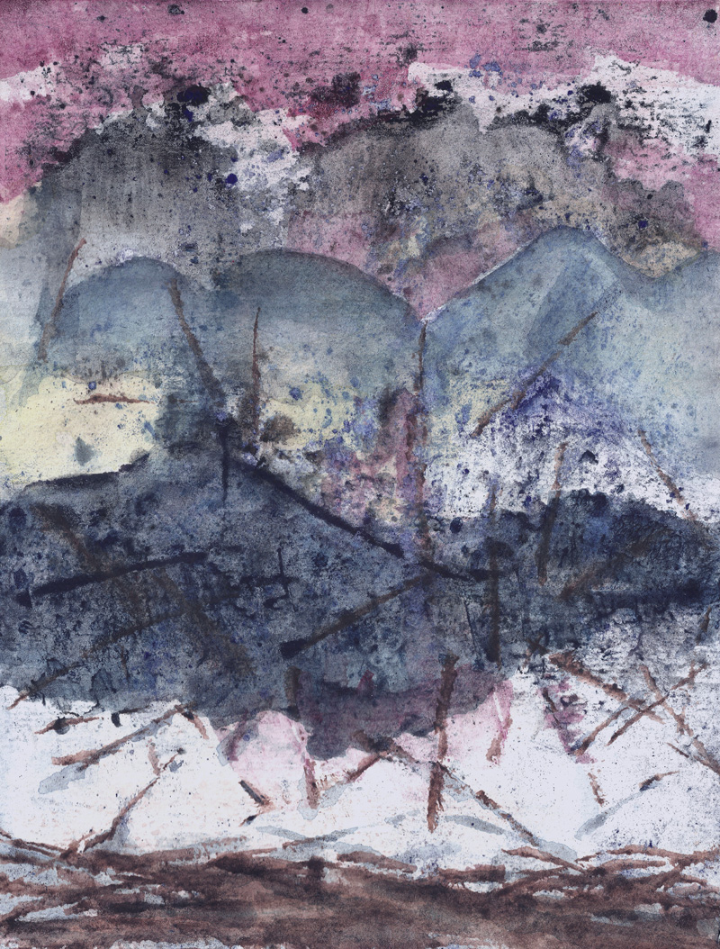abstract watercolor landscape, weather, contemporary painting, fine art, pink, grey, rain, earth tones, hills, landscape, storm