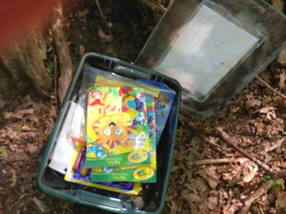 Along The Way We Came Across A 1 FTF For 12 Months Challenge Qualified And Fabulous LARGE Cache In Woods Filled With Kids Coloring Books Toys