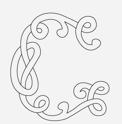 G Celtic calligraphy monogram tattoo stencil