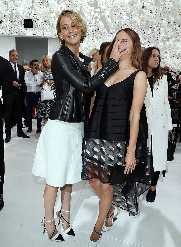 Jennifer Lawrence and Emma Watson at Dior Couture Show