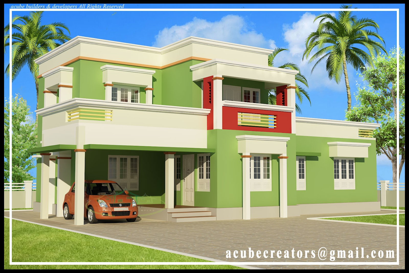 Simple cute modern home design 1879 sq ft plan 136 for Simple home elevation design