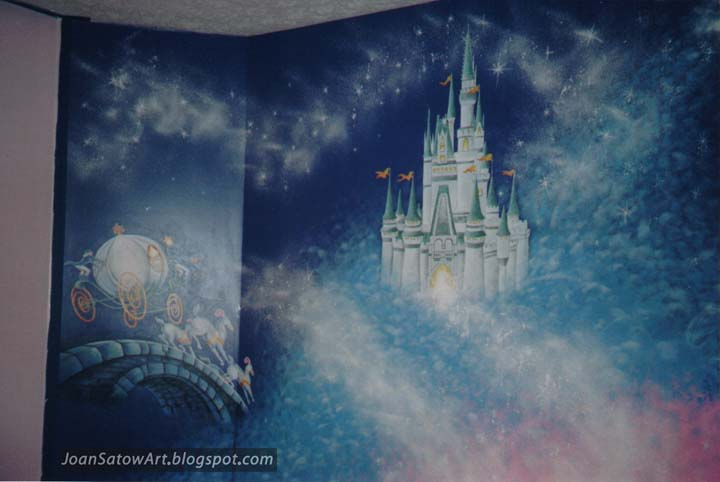 Joan satow wall murals for Cinderella castle mural