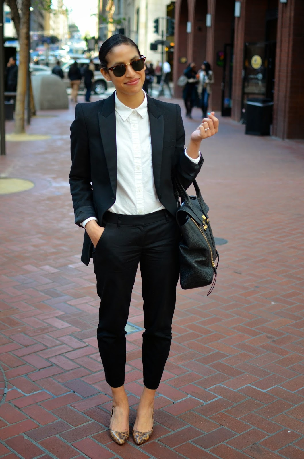 3.1 Phillip Lim Pashli satchel, J. Crew Valentina heels, J. Crew heels, J. Crew suiting, Zara suiting, women's black suit, slicked back hair