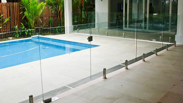 Home and garden swimming pool fences for Glass pool gate