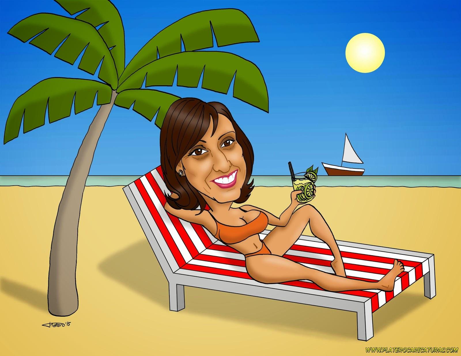 Platero caricaturas c mics e ilustraciones caricatura a color mujer en hamaca tom ndose un mojito - Fotos de hamacas en la playa ...