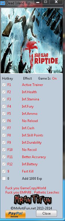 Dead Island Riptide V1.4.1.1.13 Trainer +13 MrAntiFun