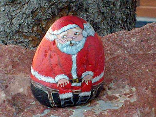 painted rocks, Santa, rock painting, Christmas