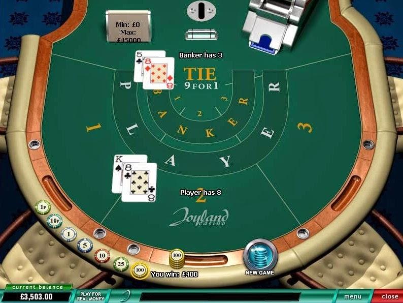 Joyland Casino Baccarat Screen