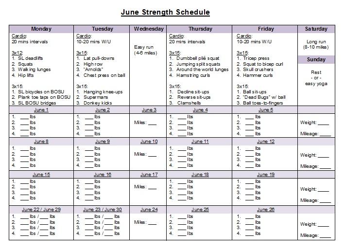 Jen S Best Life June Strength Schedule