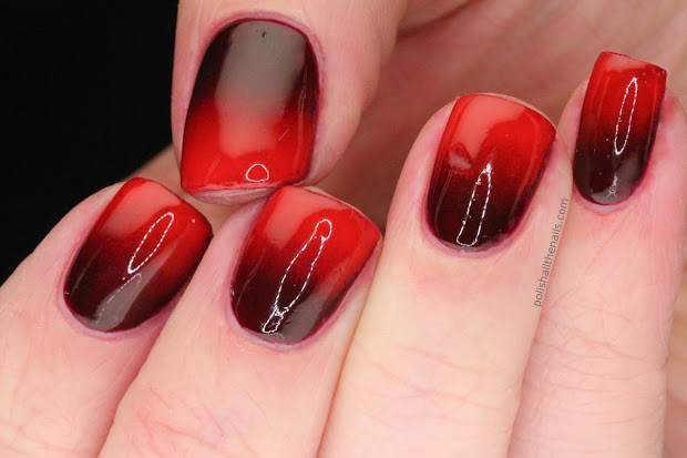 nail art vampy red gradient