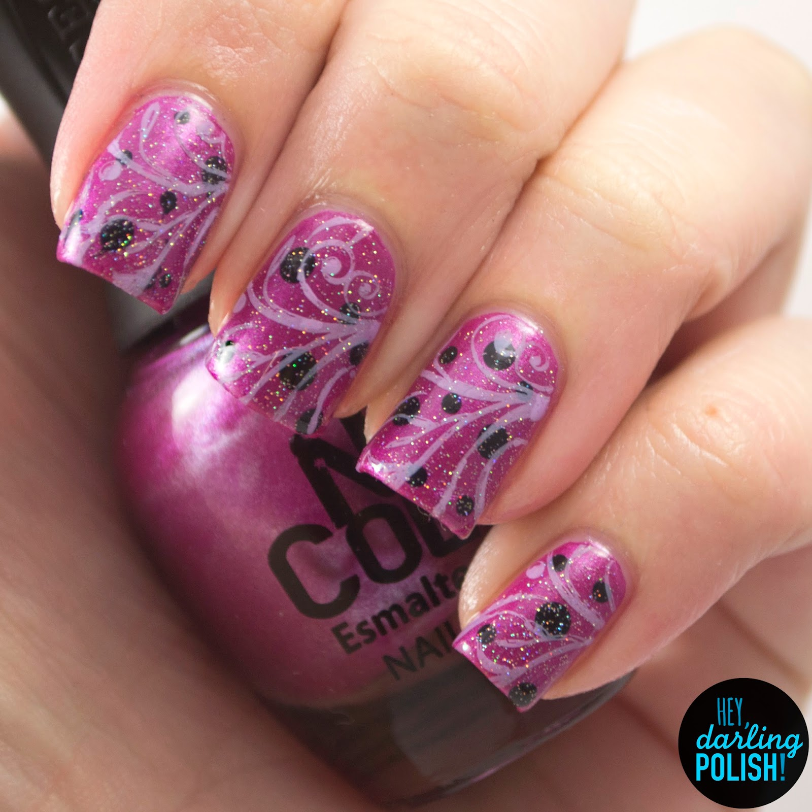 nails, nail art, nail polish, polish, princessa, stamping, dots, glitter, hey darling polish, the never ending pile challenge