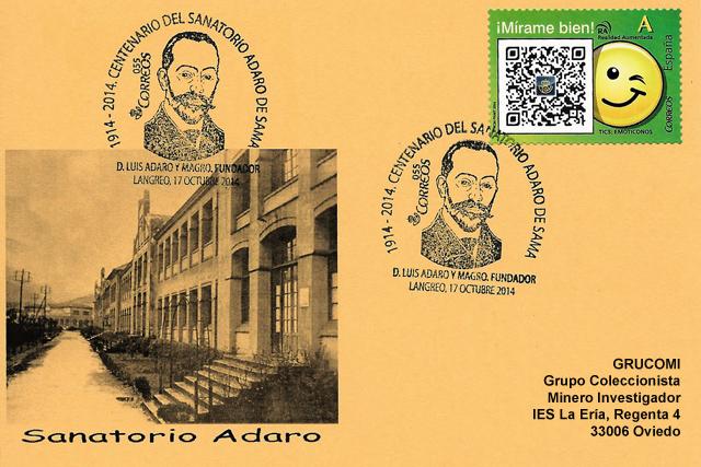 Tarjeta con el matasellos del centenario del Sanatorio Adaro