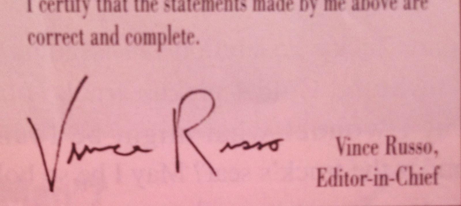 WWE: WWF RAW MAGAZINE - January 1998 - Vince Russo's signature
