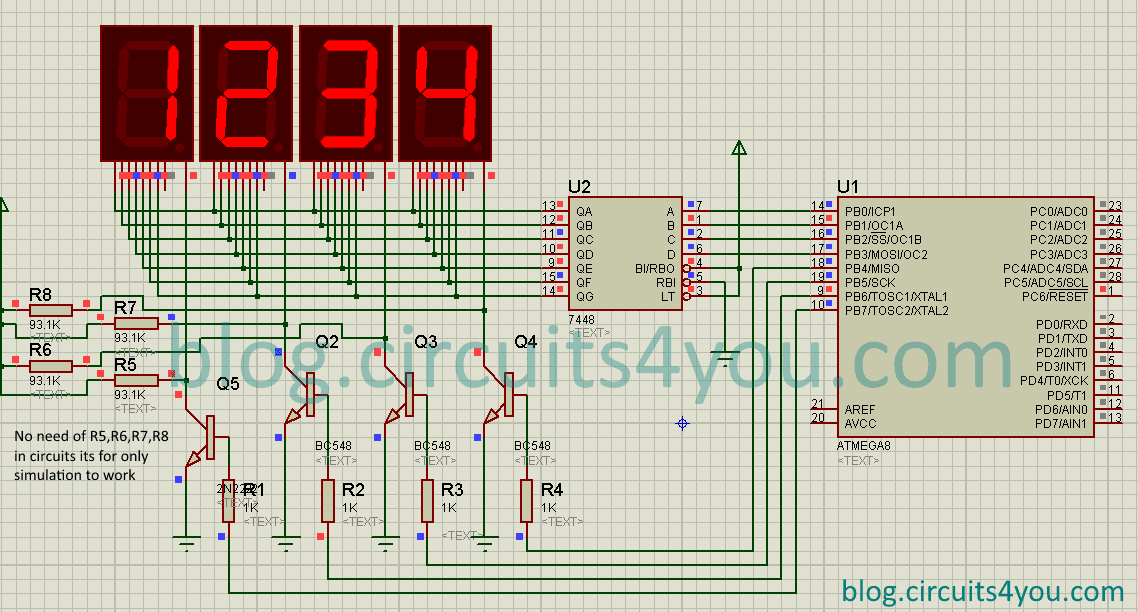 CircuitDiagram 4 digits 7 segment display interfacing with avr microcontroller
