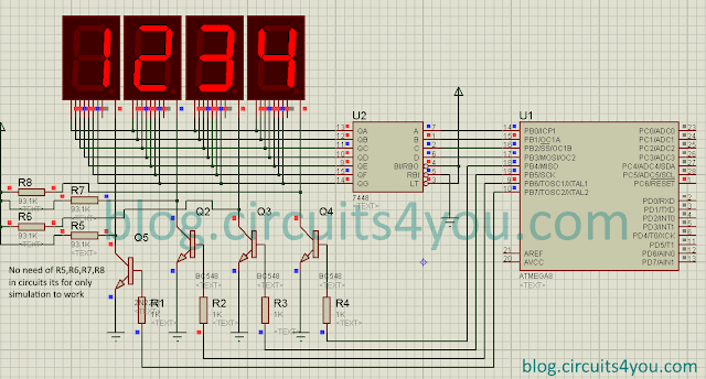 7 segment display interfacing Circuit Diagram