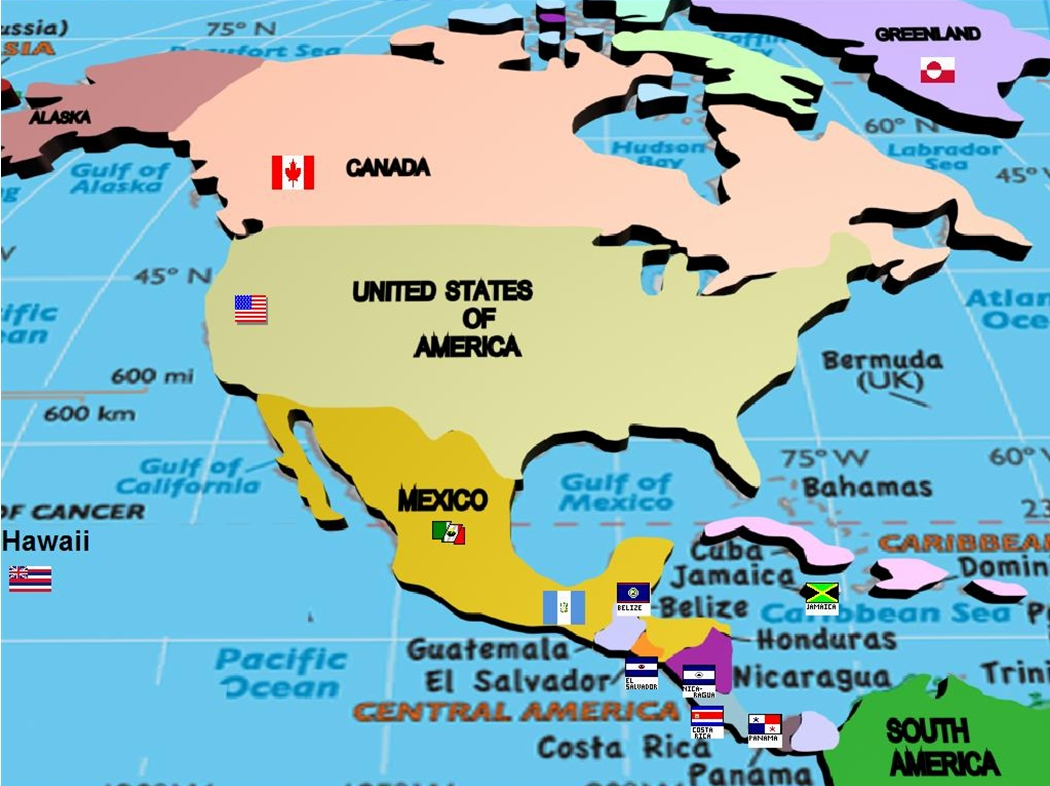 Countries In The Continent Of North America Map - North america map countries