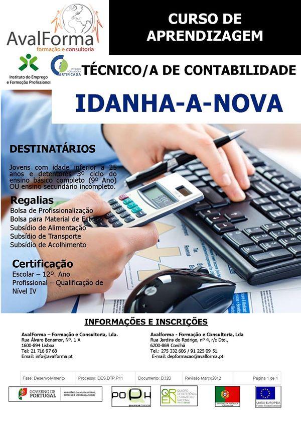 Curso financiado de Técnico de Contabilidade em Idanha-a-Nova (com equivalência ao 12º ano)