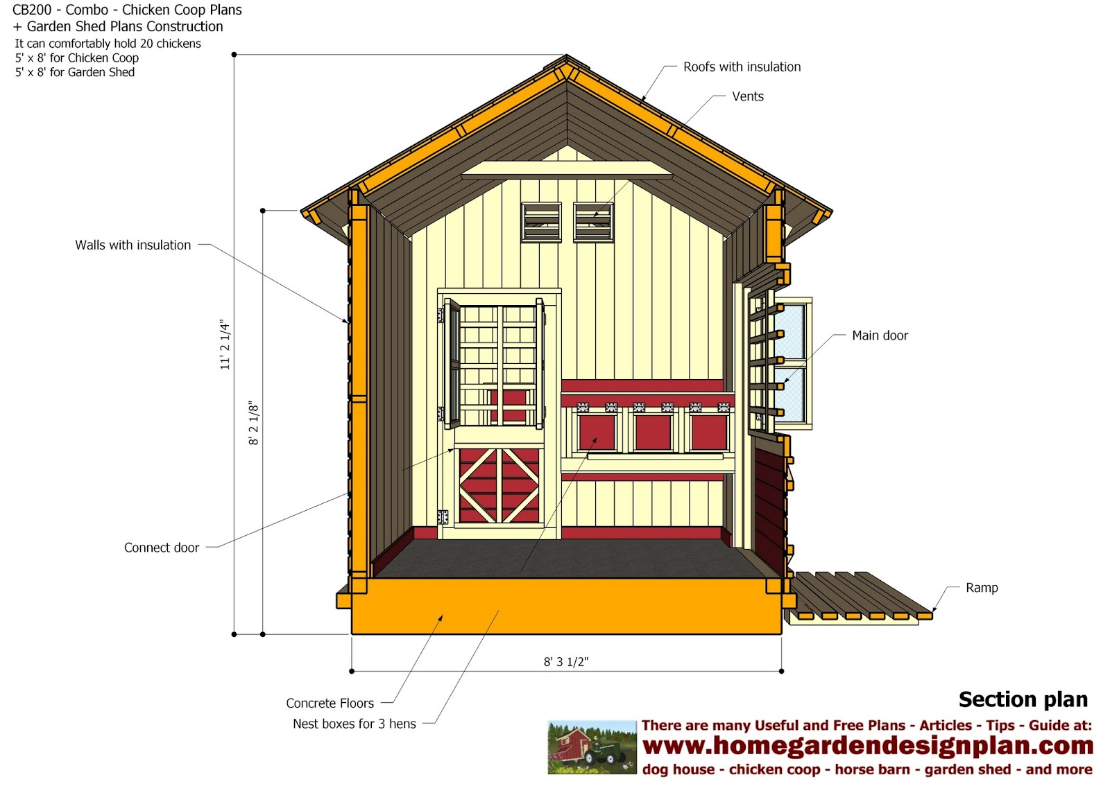 For chick coop cb200 combo plans chicken coop plans for Garden shed designs 5