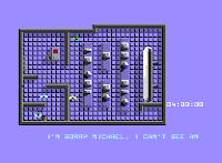 Captura de pantalla de Knight Rider (El coche fantástico) para Commodore 64 muestra la base de misiles en vista cenital