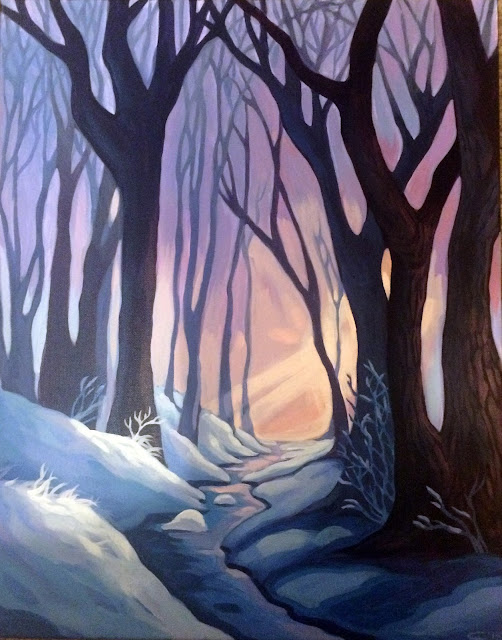 nova color, winter landscape painting, trees in snow painting, portland mural