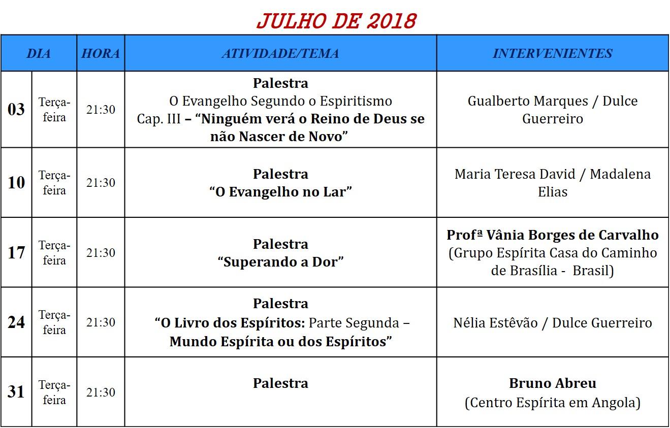 Palestras para o mês de julho de 2018, na Associação Cultural Espírita Helil - Faro