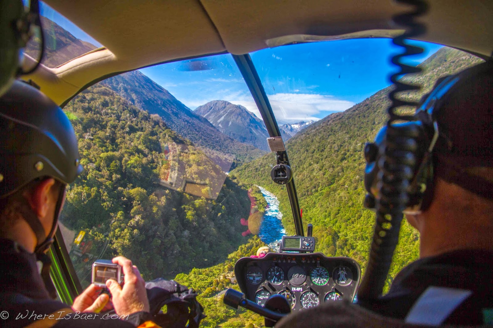 flying up the Taipo, helicopter, river, New Zealand, Chris Baer