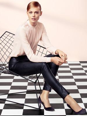 pantalón piel sintética y blusa H&M