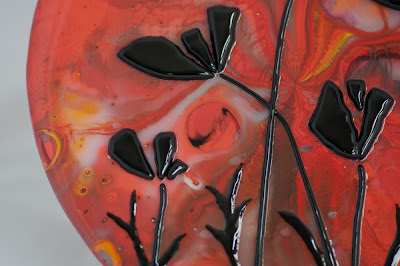 poppies flower poppy silhouette shadow fused glass stained pot melt black red flutterbybutterfly