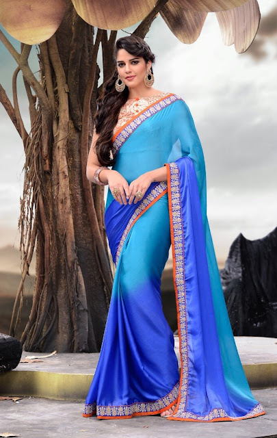 Blue Satin Embroidered Party Wear Saree With Raw Silk Blouse