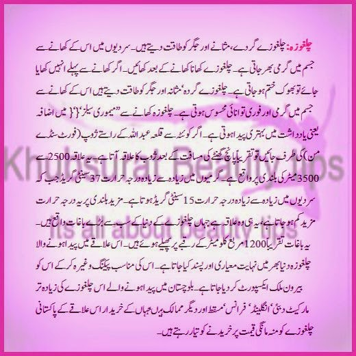 chilgoza health benefits in Urdu