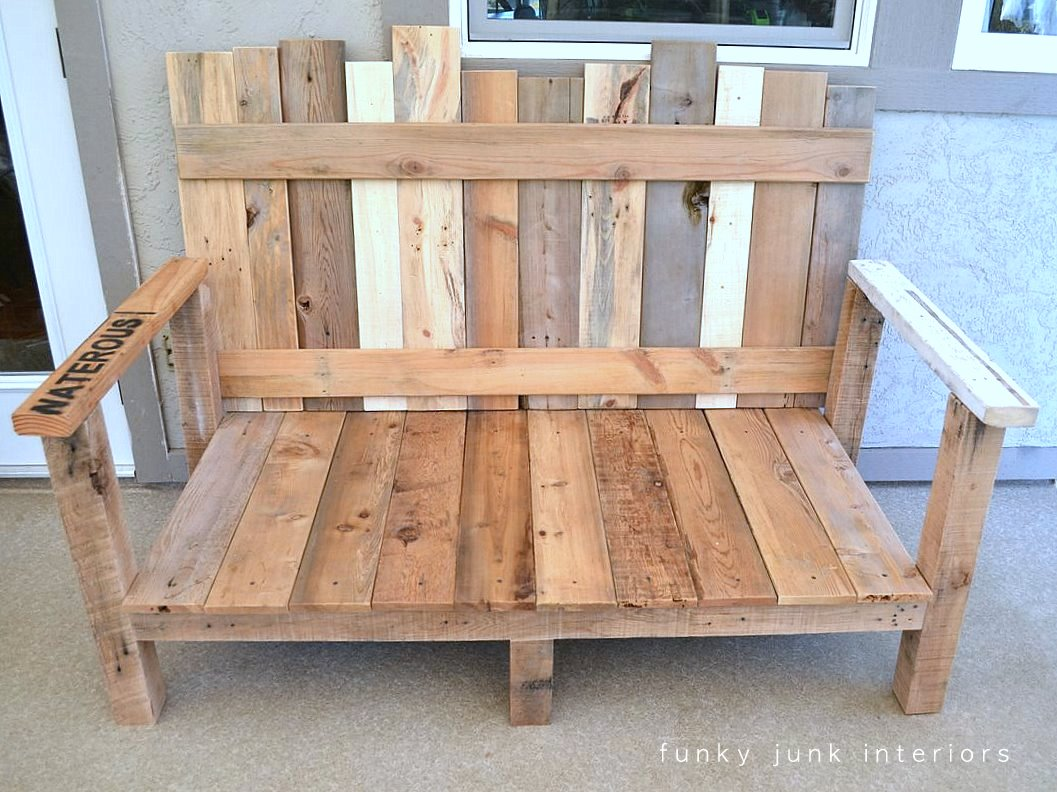 Pallet wood outdoor sofa reveal funky junk for How to make furniture out of wood pallets