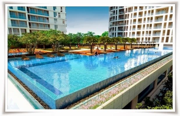 Hồ bơi tràn được thiết kế tại khu căn hộ Thảo Điền Pearl
