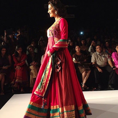Juhi Chawla walks on the ramp for Shruti Sanchet at LFW 2013
