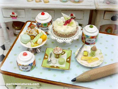 Assortment of handmade miniatures in spring colors