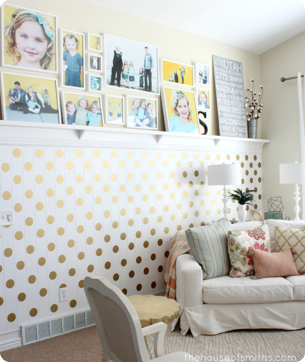 Ideal Our beadboard wall in the living room served as the perfect grid for free handing these polka dots I had no patience for making perfectly straight lines