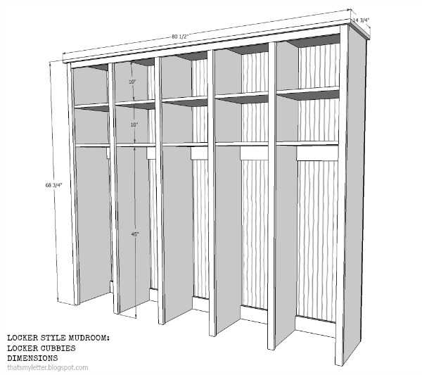 Locker style mudroom locker cubbies jaime costiglio for Mudroom dimensions