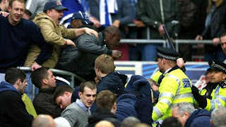 Fighting soccer match, Millwall, Wigan, soccer