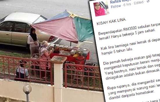 Rahsia Penjual Nasi Lemak Jana Pendapatan RM3500 Sebulan