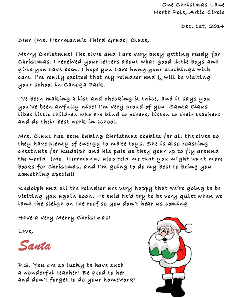 Letter from Santa to your Students