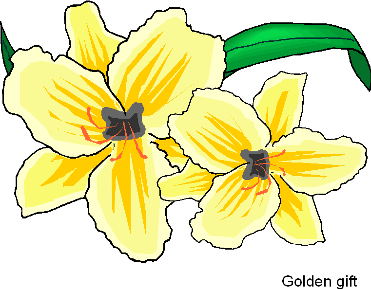 Golden Gift Flower Free Clipart