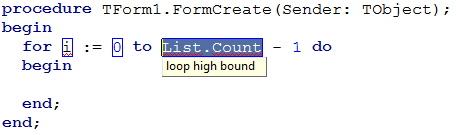 Живой шаблон forb: курсор на элементе List.count