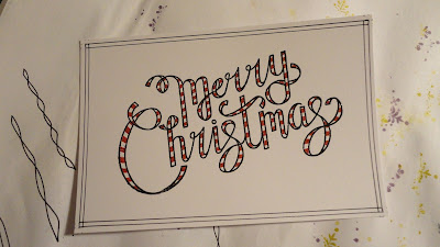 Merry Christmas red striped ribbon writing with frame