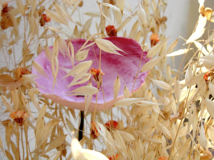 Matrimonio ecologico : centrotavola di fiori di carta , rosso arancio fatti a mano